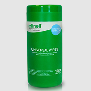 Clinell Universal Wipes - 100Wipes per Tub - Carton of 8