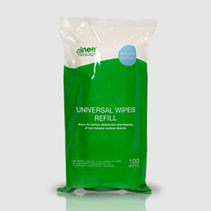 Clinell Universal Wipes - 100Wipe Tub Refills - Carton of 8