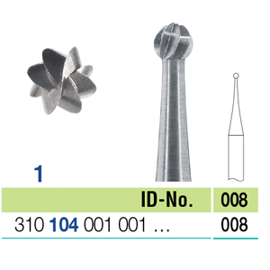 Ela Steel Bur HP Round Fig 1 008 - Pack 10
