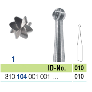 Ela Steel Bur HP Round Fig 1 010 - Pack 10