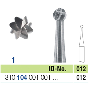 Ela Steel Bur HP Round Fig 1 012 - Pack 10