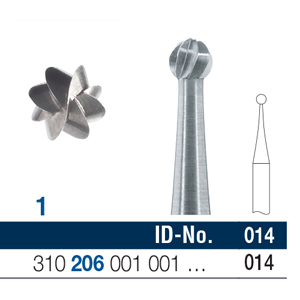 Ela Steel Bur RA Surgical Round Fig 1 014 - Pack 10