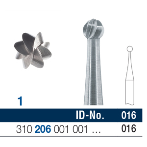 Ela Steel Bur RA Surgical Round Fig 1 016 - Pack 10