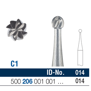 Ela Carbide Bur RA Surgical Round Fig 1 014 - Pack 6