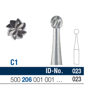 Ela Carbide Bur RA Surgical Round Fig 1 023 - Pack 6