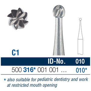 Ela Carbide Bur FG Surgical Round Fig 1 010 - Pack 6