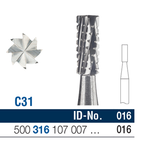 Ela Carbide Bur FG Surgical Fig 31 016 - Pack 6