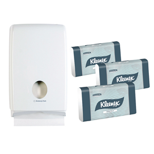Kleenex Compact Towel Starter Pack - White 29.5x19cm, 15 Packs + 1 Dispenser, 4441