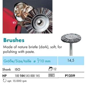 NTI Bristle Brush HP Natural Soft 14.5mm P1259 - Pack 12