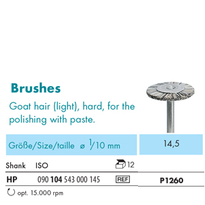 NTI Bristle Brush HP Goat Hair Hard 14.5mm P1260 - Pack 12