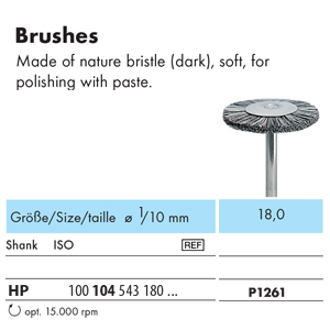 NTI Bristle Brush HP Natural Soft 18mm P1261 - Pack 12