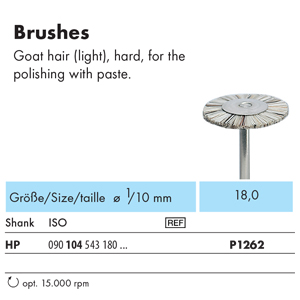 NTI Bristle Brush HP Goat Hair Hard 18mm P1262 - Pack 12