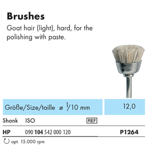 NTI Bristle Prophy Brush HP Goat Hair Hard P1264 - Pack 12