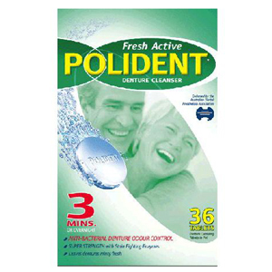 Polident Denture Cleaning Tablets, Fresh Active - Pack 36