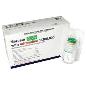Marcain 0.5% with Adrenalin 1:200,000 20ml, 1716 - Pack 5