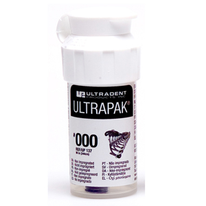 Ultradent Ultrapak Retraction Cord Size 000 Non Impregnated, 0137, Black 8ft